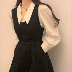 Zepto - 泡泡袖衬衫 / 背带连衣中裙