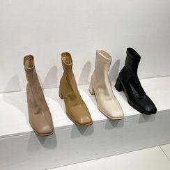 MIKOGI - Square-Toe Chunky-Heel Short Boots