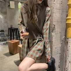 Moon City - Plaid Mini Shirtdress / Plain Cropped Sweater Vest
