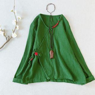Vateddy - Linen  Long-Sleeve Top