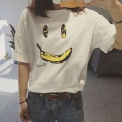 時尚麻豆家 - 笑臉短袖T恤