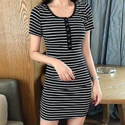 Fashion Street - Striped Short-Sleeve Mini Sheath Dress