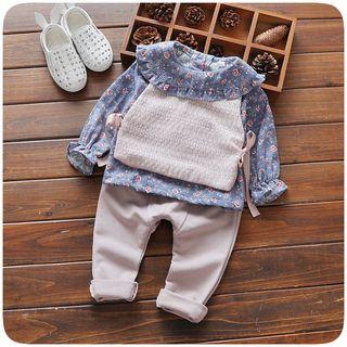 Hecto - 小童套装: 碎花长袖上衣 + 马甲 + 纯色裤