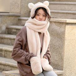 MISHORE - Chenille Bear Ear Hooded Scarf