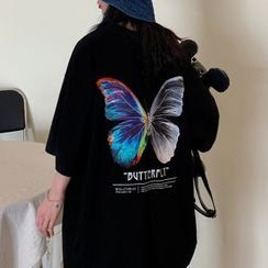 Pickxy - Elbow-Sleeve Butterfly-Print T-Shirt