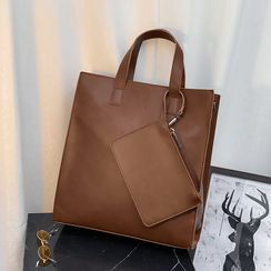 ETONWEAG - Set: Faux Leather Tote Bag + Pouch
