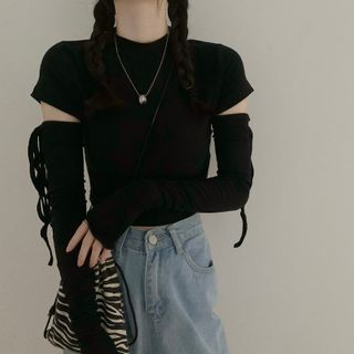 VeryBerry - Detachable Long-Sleeve T-Shirt / Drawstring Fingerless Gloves / Short-Sleeve T-Shirt / Set