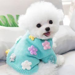 Bixin - 针织花朵宠物上衣