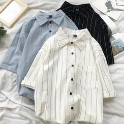 Holzwege - 中袖條紋襯衣