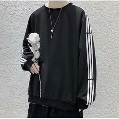 Wescosso - Round-Neck Striped Long-Sleeve Sweatshirt