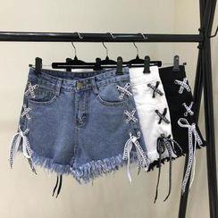 Megnolius - Frayed Lace Up Denim Hot Pants