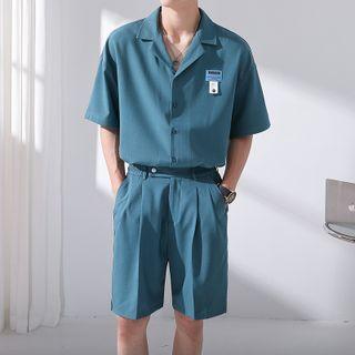 Freehop - Short-Sleeve Applique Shirt / High-Waist Plain Shorts