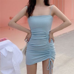 BBChic - Ruched Tie Detail Spaghetti Strap Bodycon Knit Mini Dress