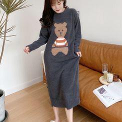 Cinni - Long-Sleeve Bear Print Pajama Top / Button-Up Top / Pants / Dress / Set