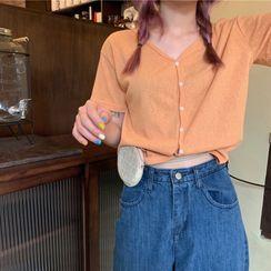 VeryBerry - Short-Sleeve V-Neck Plain Knit Top