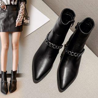 安若 - 饰链条尖头短靴