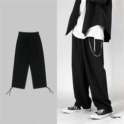 Soulcity - 抽繩純色寬腿褲