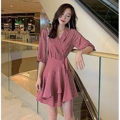 Meatacci - Elbow-Sleeve Printed Chiffon Asymmetric Ruffled A-Line Mini Dress