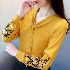 Kearen - Floral Embroidery Chiffon Blouse