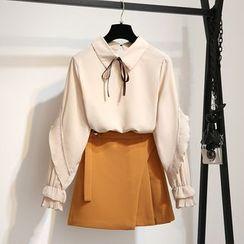 Linnam - Pleated Trim Blouse / Mini A-Line Skirt / Set