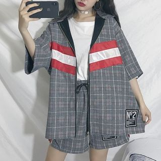 Guajillo - Set: Plaid Color Block Elbow-Sleeve Jacket + Plaid  Drawstring Shorts