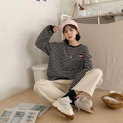 MERONGSHOP - Ringer Striped Boxy Sweatshirt