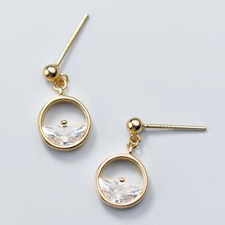 A'ROCH - 925 Sterling Silver Half-Cut Rhinestone Hoop Earrings