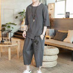 Aozora - Set: 3/4 Sleeve Asymmetric Embroidered Shirt + Capri Pants