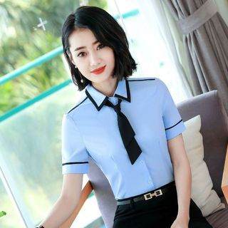 Princess Min - 短袖配色边西装衬衫 / 铅笔裙
