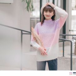 OrangeBear - Color Block Mock Neck Sweater