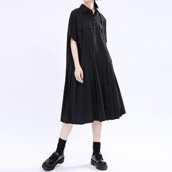 Ultra Modern - Short-Sleeve Pleated Midi A-Line Dress
