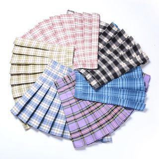 Bloomflo - 假两件短裤格子百褶裙