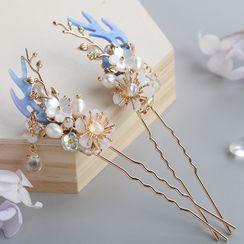 Kanzashi - 仿珍珠花朵及角发簪