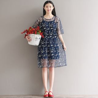 Fancy Show - Short-Sleeve Embroidered Dress with Slipdress