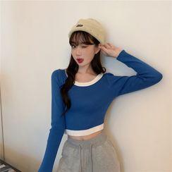 MISS YOYO - Contrast Trim Long-Sleeve Top