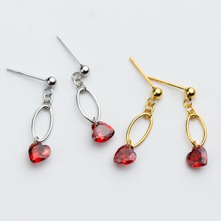 A'ROCH(エーロック) - 925 Sterling Silver Rhinestone Heart Drop Earring