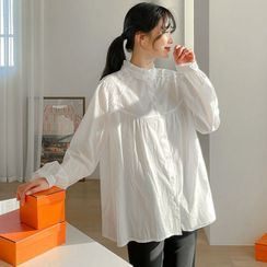 Seoul Fashion - Frill-Neck Cotton Blouse