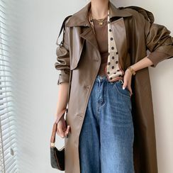 MasaLady - Faux Leather Double Breasted Long Coat