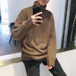 Bay Go Mall - Turtleneck Long-Sleeve Knit Top