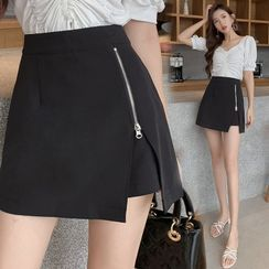 PearlPynk - Asymmetrical Zip-Accent Mini Pencil Skirt