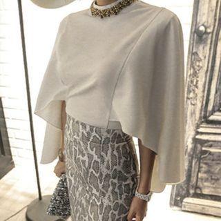 Yolandus - 喇叭袖襯衫 / 蛇子印花鉛筆裙 / 仿珍珠項鏈 / 套裝