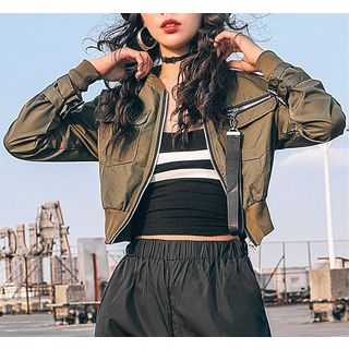 Girls Supply - Cropped Bomber Jacket