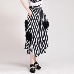 Ultra Modern - Striped A-Line Skirt