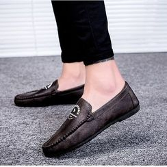 B-Z - Lettering Faux Leather Loafers