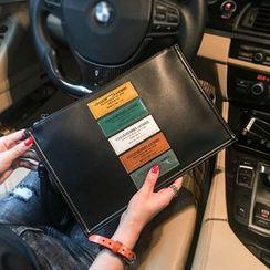 BagBuzz - Faux Leather Applique Clutch