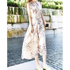 Dowisi - Sleeveless Floral Print Dress
