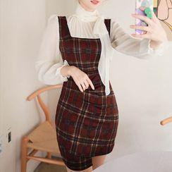 MyFiona - Inset Scarf-Neck Blouse Plaid Dress