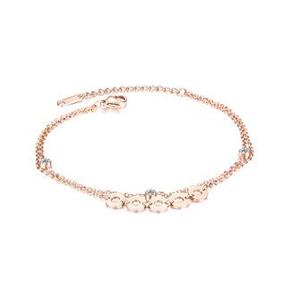 BELEC - Simple Classic Plated Rose Gold Roman Numerals Geometric Round 316L Stainless Steel Anklet with Cubic Zirconia