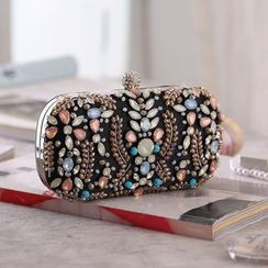 Moonflower - Beaded Clutch With Metal Chain