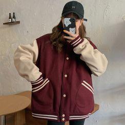 Iduna(イデュナ) - Contrast Stripe Panel Baseball Jacket